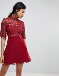 Keepsake Uplifted Lace Mini Dress - Red