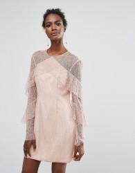 Keepsake Wide Awake Lace Frill Mini Dress - Pink