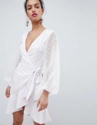 Keepsake wrap dress with spot detail - White