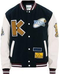 Kenzo Wool&Leather Varsity Jacket Navy men XL
