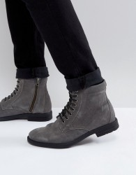 Kg By Kurt Geiger Military Lace Up Boots Black - Grey