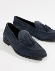 KG By Kurt Geiger Wide Fit Tassel Loafers In Navy Suede - Blue