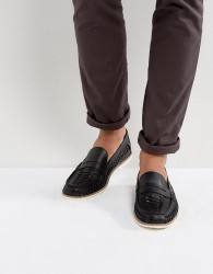 KG By Kurt Geiger Woven Loafers In Black Leather - Black