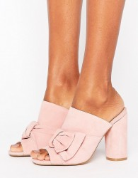 KG By Kurt Keiger Jessika Pink Suede Bow Heeled Mules - Pink
