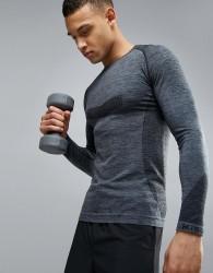 Ki5-A Pierre Long Sleeve Seamless Gym Top - Grey