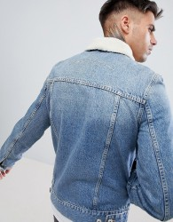 Kings Will Dream Honesdale Denim Jacket With Removable Borg Collar - Blue