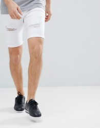 Kings Will Dream Lummer Denim Shorts In White With Distressing - White