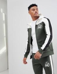 Kings Will Dream Mert Hoodie In Khaki With Contrast Panels - Green