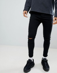 Kings Will Dream Muscle Fit Jeans With Distressing In Black - Black