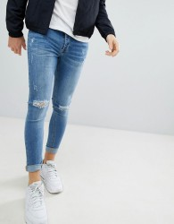 Kings Will Dream Muscle Fit Jeans With Distressing In Light Wash - Blue
