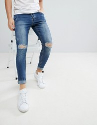 Kings Will Dream Muscle Fit Jeans With Distressing In Mid Wash - Blue