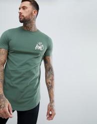 Kings Will Dream Muscle Fit Travis Longline T-Shirt In Green - Green