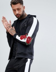 Kings Will Dream Muscle Logo Hoodie With Rose Print Side Stripes - Black