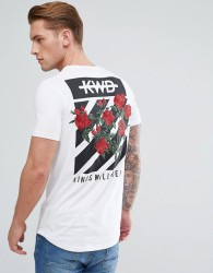 Kings Will Dream Muscle T-Shirt In White With Rose Back Print - White