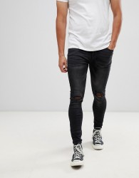 Kings Will Dream super skinny jeans in black with distressing - Black