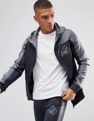 Kings Will Dream Track Hoodie In Grey With Contrast Panel - Grey