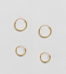 Kingsley Ryan Gold Plated Mini Hoop Earrings Set - Gold