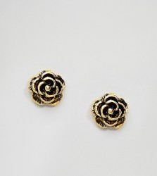 Kingsley Ryan Gold Plated Rose Stud Earrings - Gold