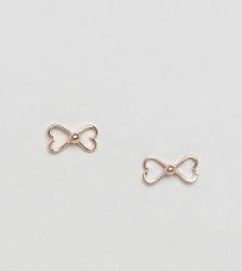 Kingsley Ryan Rose Gold Plated Bow Stud Earrings - Gold