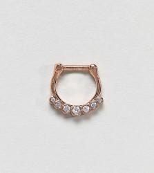 Kingsley Ryan Rose Gold Rhinestone Piercing Hoop - Gold