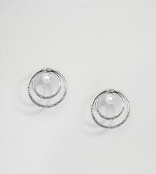 Kingsley Ryan Sterling Silver Double Hoop Pearl Stud Earring - Silver