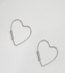 Kingsley Ryan Sterling Silver Fine Heart Hoop Earrings - Silver