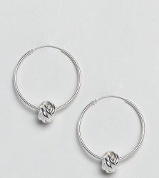 Kingsley Ryan Sterling Silver Knot Detail Hoop Earrings - Silver