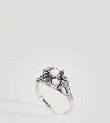 Kingsley Ryan Sterling Silver Leaf Detail Moonstone Ring - Silver