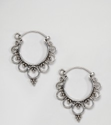 Kingsley Ryan Sterling Silver Mini Ornate Hoop Earrings - Silver