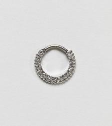 Kingsley Ryan Sterling Silver Rhinestone Piercing Hoop - Silver