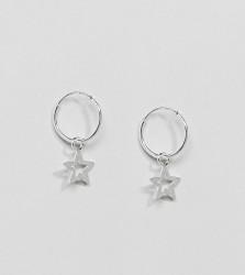 Kingsley Ryan Sterling Silver Star Drop Hoop Earrings - Silver