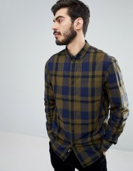 Kiomi Check Shirt In Navy And Green - Green