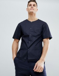 Kiomi Collarless Short Sleeve Shirt in Regular Fit - Navy