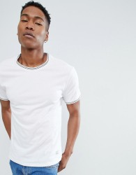 Kiomi Crew Neck T-Shirt with Tipping - White