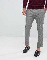 Kiomi Cropped Check Suit Trousers In Grey - Grey