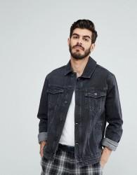 Kiomi Denim Jacket In Washed Black - Black