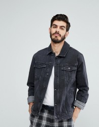 Kiomi Denim Jacket In Washed Black - Black