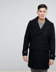 Kiomi Double Breasted Wool Mix Coat with Borg Collar In Black - Black