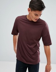 Kiomi Drop Shoulder T-Shirt In Burgundy - Red
