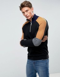 Kiomi Half Zip Jumper In Colour Block - Black