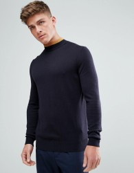 Kiomi High Neck Jumper With Contrast Neck - Navy