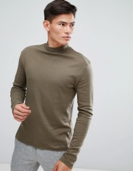 Kiomi High Neck Long Sleeve T-Shirt In Khaki - Green