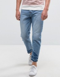 Kiomi Jeans with Raw Hem in Relaxed Fit - Blue