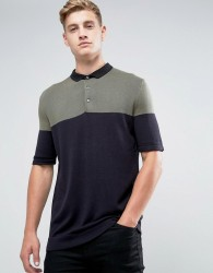 Kiomi Knitted Polo Shirt With Colour Block - Green
