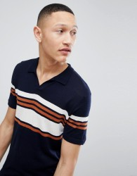 Kiomi Knitted Polo Shirt with Vintage Stripe - Navy