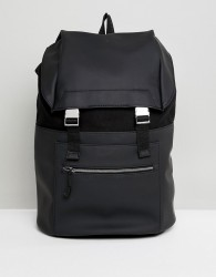 Kiomi Leather And Canvas Backpack In Black - Black