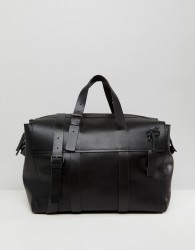 Kiomi Leather And Canvas Holdall In Black - Black