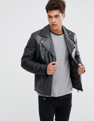 Kiomi Leather Biker Jacket - Black