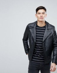 Kiomi Leather Biker Jacket In Black - Black
