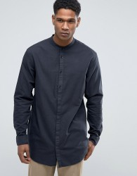 Kiomi Longline Shirt with Grandad Collar - Black